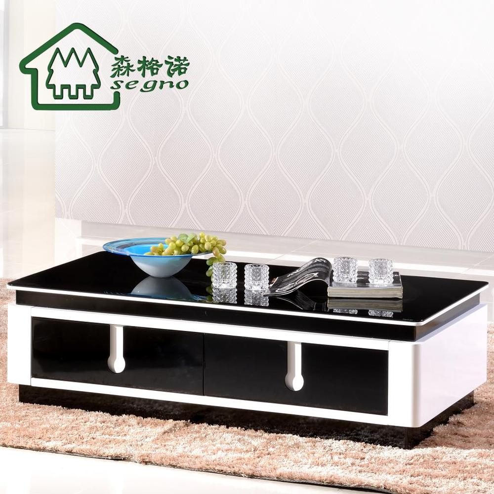 Simple Casual Noir Et Blanc Table Basse En Verre De Peinture Tv  # Table Basse En Verre Tele