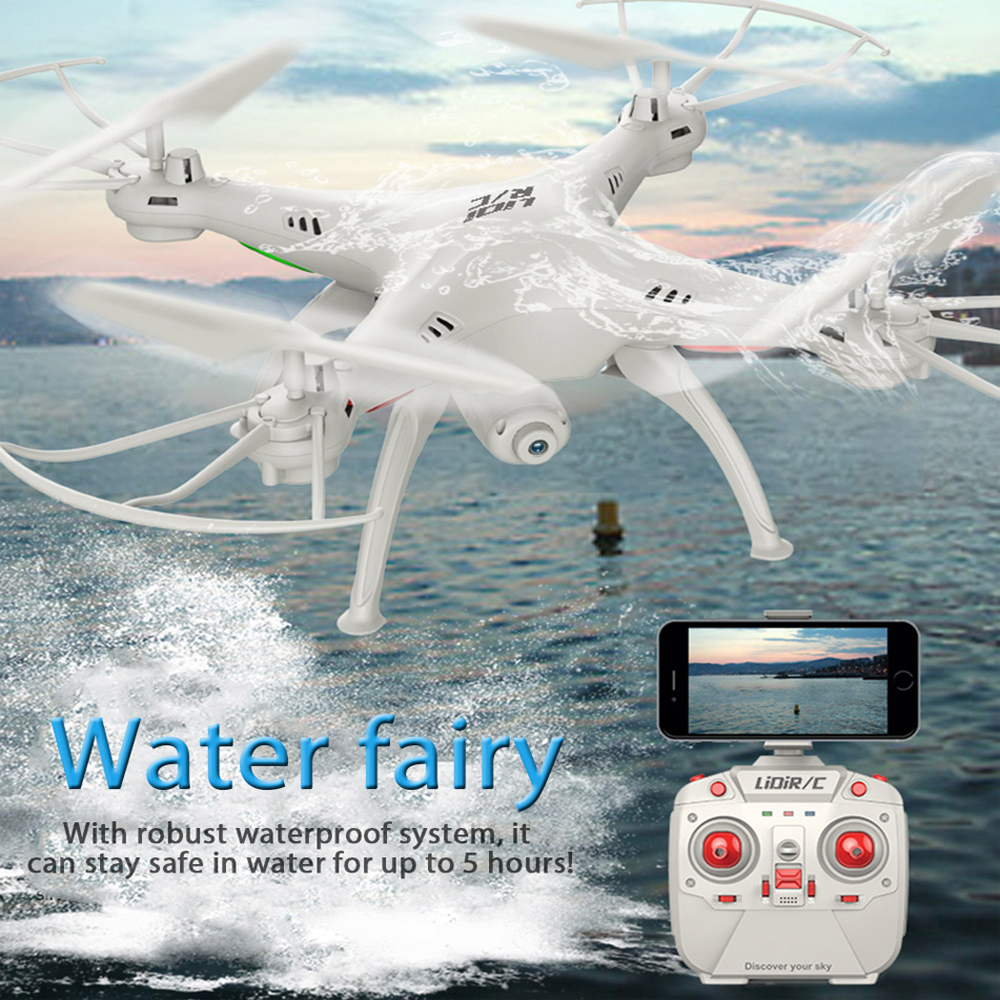 LiDiRC L15FW RC Dron WiFi FPV 2.4GHz 4CH 6 Axis Gyro Waterproof RC Dron Quadcopter Headless Mode RC Helicopter with Camera Drone
