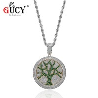 GUCY The Tree Of Life Pendant Necklace Cubic Zircon Spinner Pendants With Stainless Steel Chain Hip Hop Jewelry Men's Gift Women