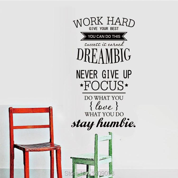 Fashion Wall Quotes Vinyl Stickers Home Decor Work Hard Dream Big