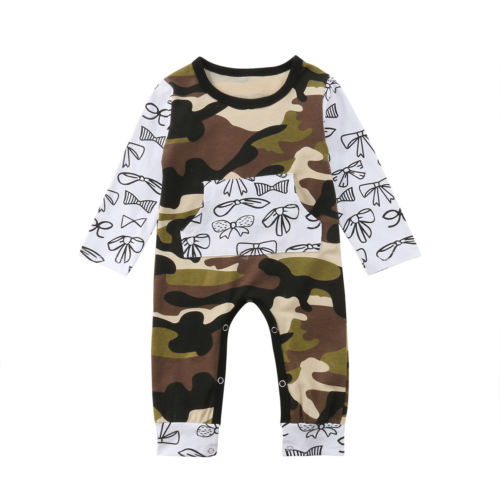 Toddler Kids Baby Boy Camo Romper Jumpsuit Bodysuit Hooded Clothes Outfits 0-24M