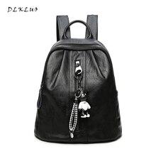 Dlkluo натуральная кожа Для женщин рюкзак Лидер продаж высокое качество мягкий Водонепроницаемый овчины сумка Мода милый медведь для девочек школьная сумка