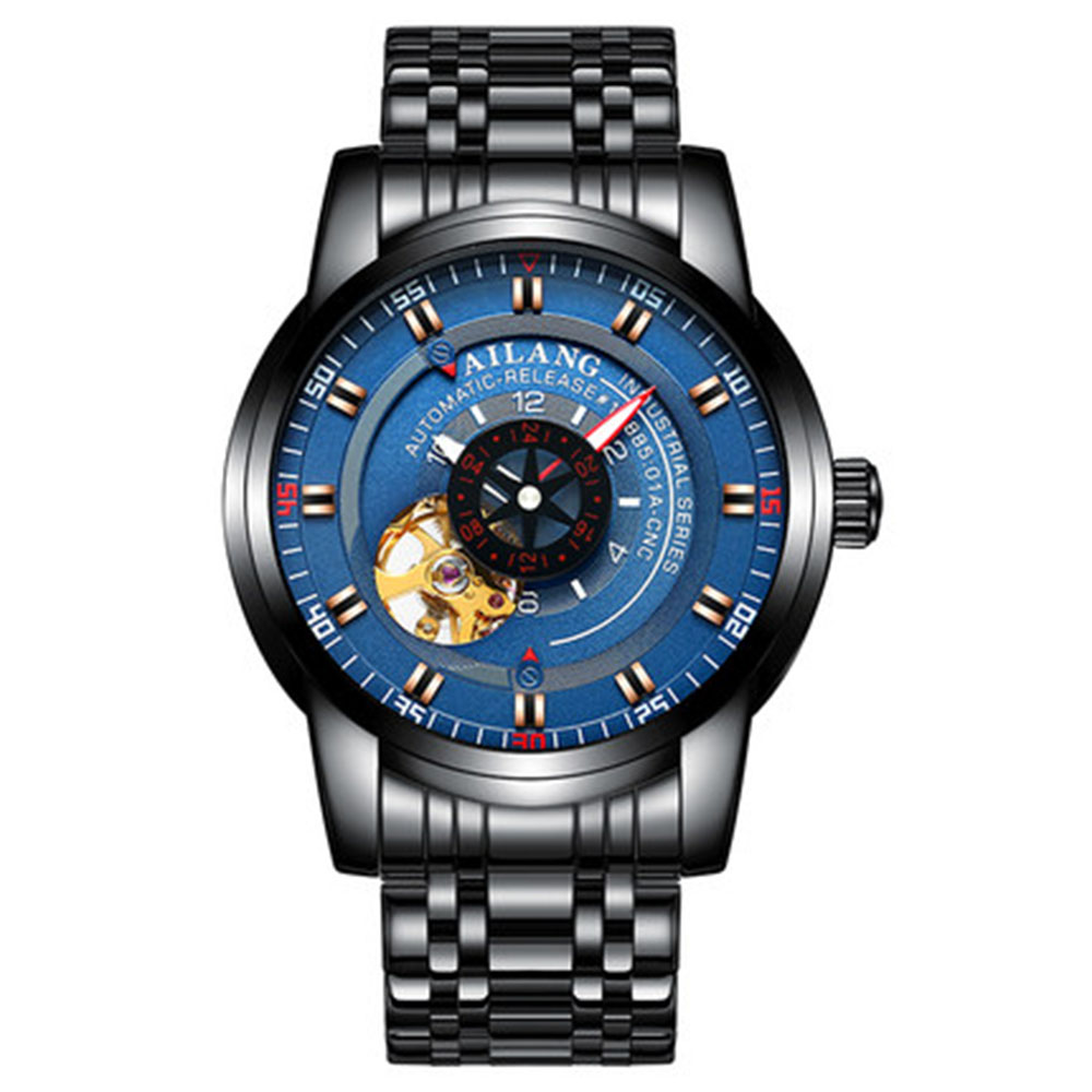 AILANG Men 39 s Watch Luxury Brand Automatic Tourbillon Mechanical Men 39 s Sports Watch Skeleton Full Steel Waterproof Watch in Mechanical Watches from Watches