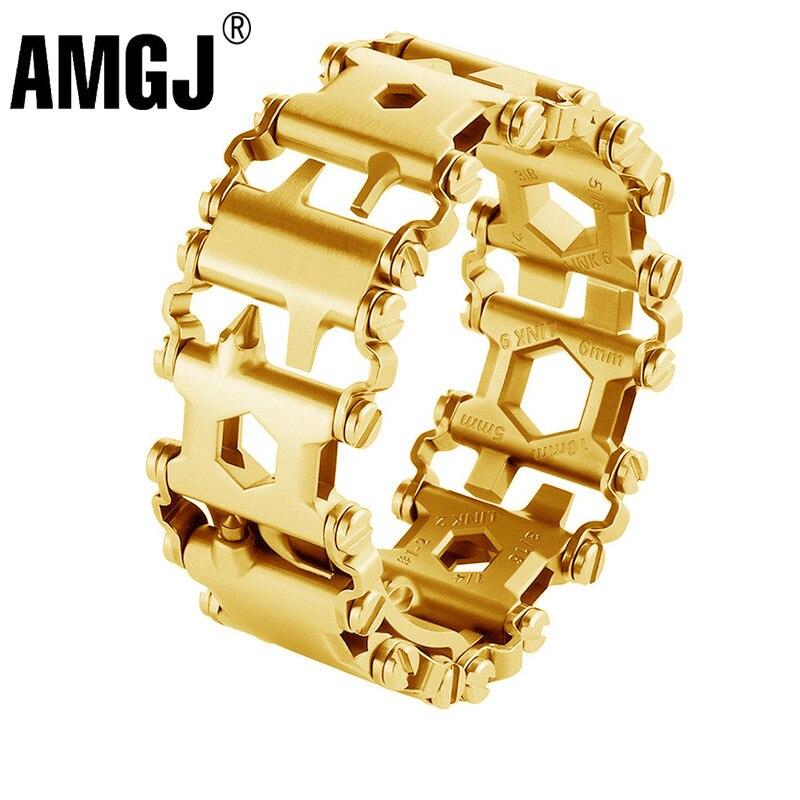 29in1 acier inoxydable multifonction Bracelet Bracelet tournevis décapsuleur en plein air survie outils d'urgence pour hommes femmes
