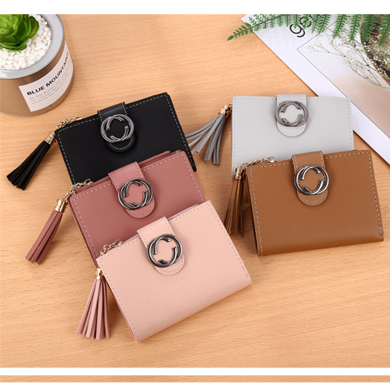 High quality female wallet 2018 new short women wallet Hot sale tassel mini lady travel card holder zipper purse Clutch Carteras 3