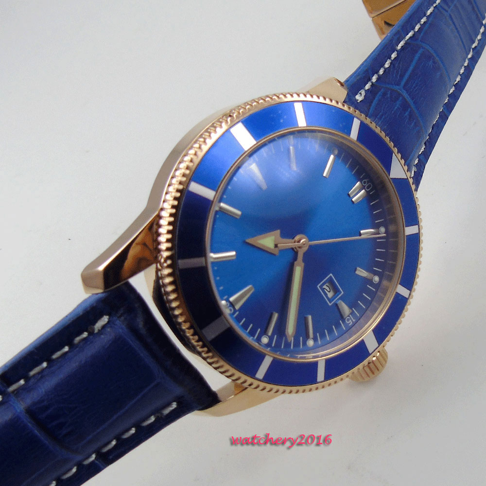 New Arrive 46mm Blue Sterile Dial Rotating Bezel Rose Golden Case Leather strap Luxury Brand Automatic Movement men's Watch цена и фото