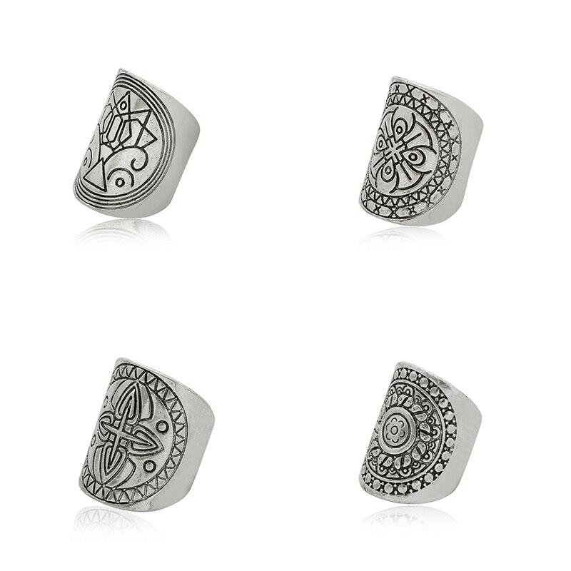 4PCS/ SET Vintage Punk Turkish Ethnic Antique Silver BOHO Ring Sets Unique Carved Totem Boho Beach Jewelry Anel retro For Women