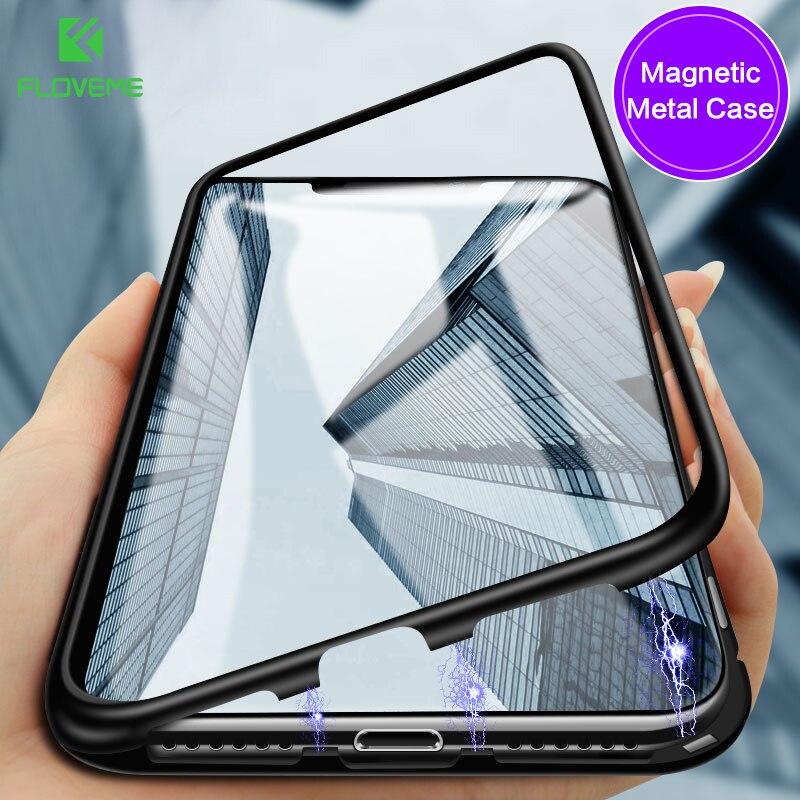FLOVEME Магнитный чехол для Apple iPhone X закалённое защитное стекло Роскошные Высокая прозрачность крышка на магните для iPhone 8 7 Plus Coque