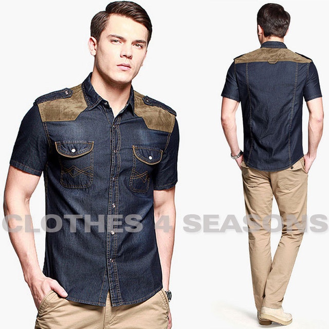 bace0f3d666 2014 Fashion Splicing 100% Cotton Men Denim Shirts Western Cowboy Style Men  Leisure Shirts Short Sleeve Slim Fit Tops