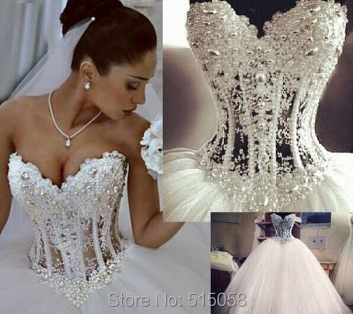 Gorgeous Pearl Beaded Lace Sweetheart See Through Corset Wedding Dresses Ball Gowns 2017 White Tulle Bridal Dress In From Weddings Events