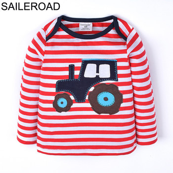 SAILEROAD Cartoon Vehicle Harvester Children Kids Boy's T Shirts New Spring Autumn Baby Infant Girl's Tops Tees Clothing 1-6Year