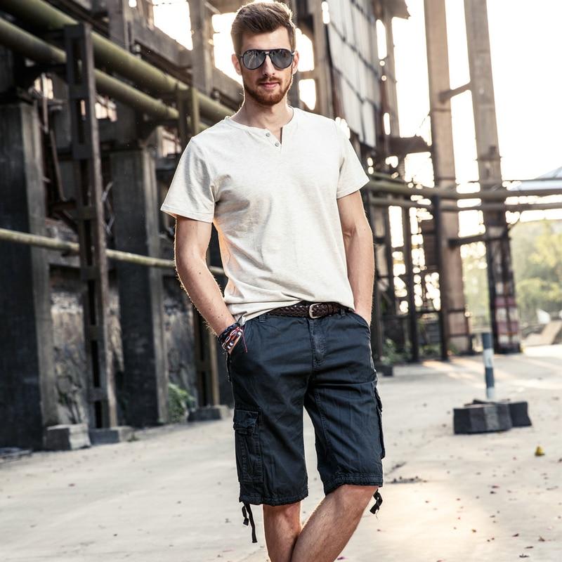 drop penghantaran lelaki kargo seluar pendek 100% kapas musim panas - Pakaian lelaki - Foto 3