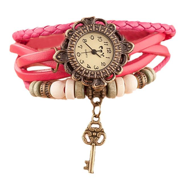 Relojes Para Mujer Watches Women Vintage Quartz Weave Around Leather Key Bracelet WristWatches Ladies Clock Gift Zegarek Damski