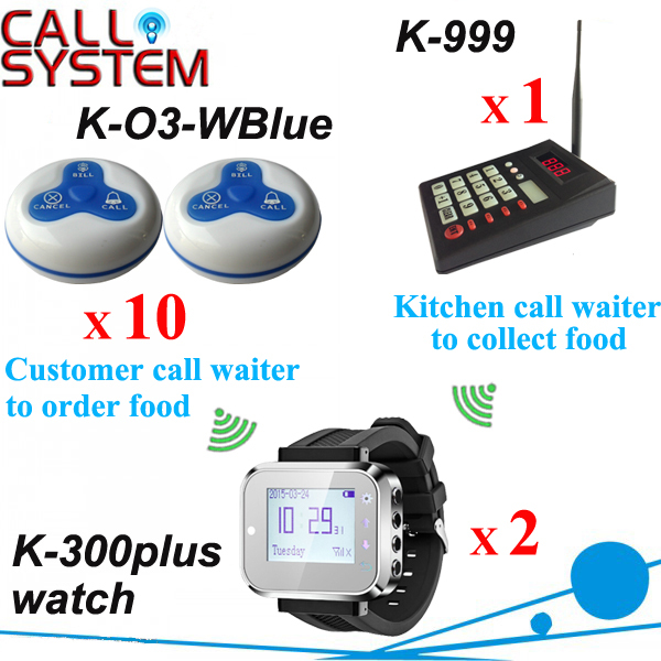 Restaurant wireless table calling system 1 kitchen equipment 2 wrist watches 10 guest buzzer in 433.92mhz digital restaurant pager system 1 monitor with 15pcs table buzzer button wireless equipment with ce