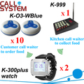 Restaurant wireless table calling system 1 kitchen equipment 2 wrist watches 10 guest buzzer in 433.92mhz