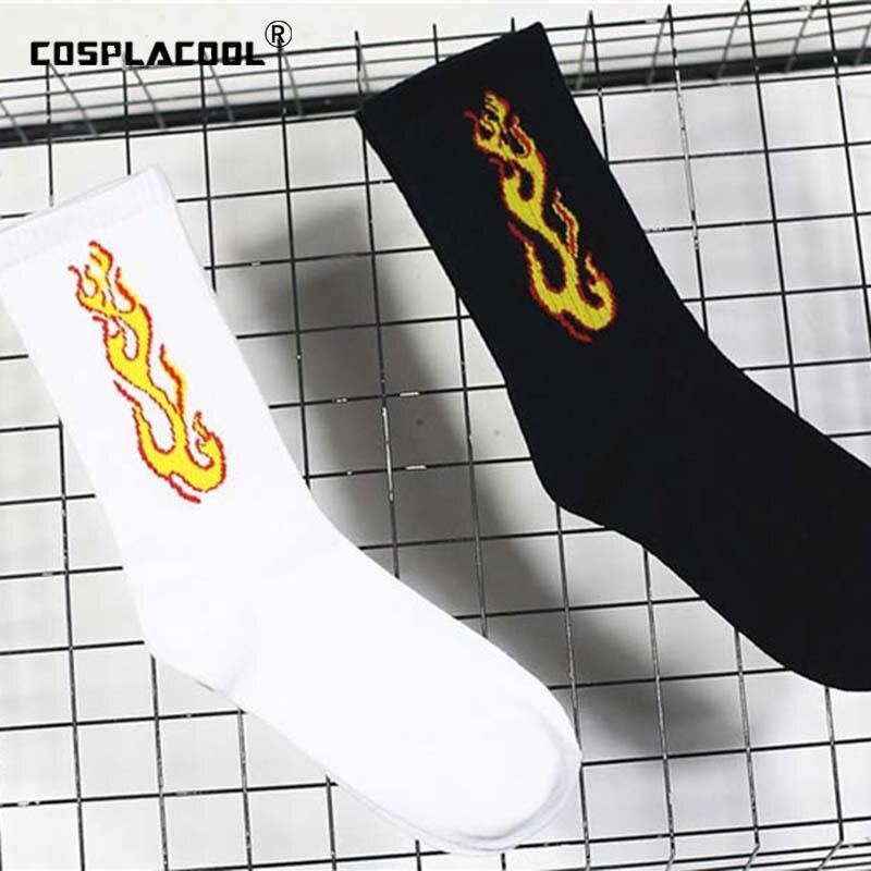 Lovers Active Skateboard Men Red Flame Socks Cotton Crew Funny Sokken Hip Hop Black White Unisex Happy Socks Chaussette Homme