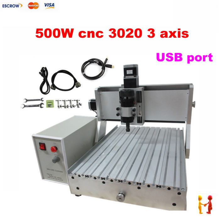 3 Axis CNC 3020 Engraving Machine 500w Spindle Motor with USB Port MACH3 Control 2030 wood CNC Router 3 axis cnc router 3020z d usb port cnc 3020 machine with 500w spindle power