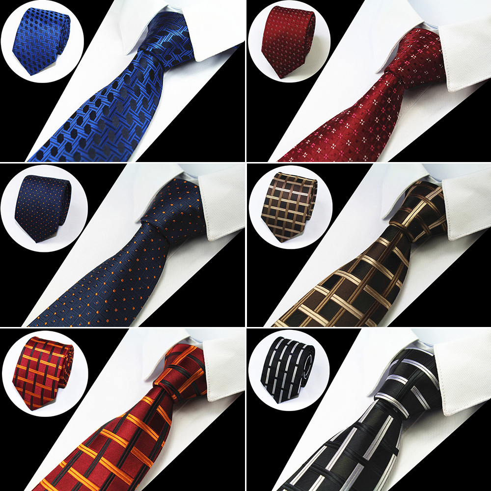 RBOCOTT Fashion Brown Tie Checked & Dot & Plaid Ties 7cm Tie For Men Suit Business Wedding Party Neckties Blue Tie