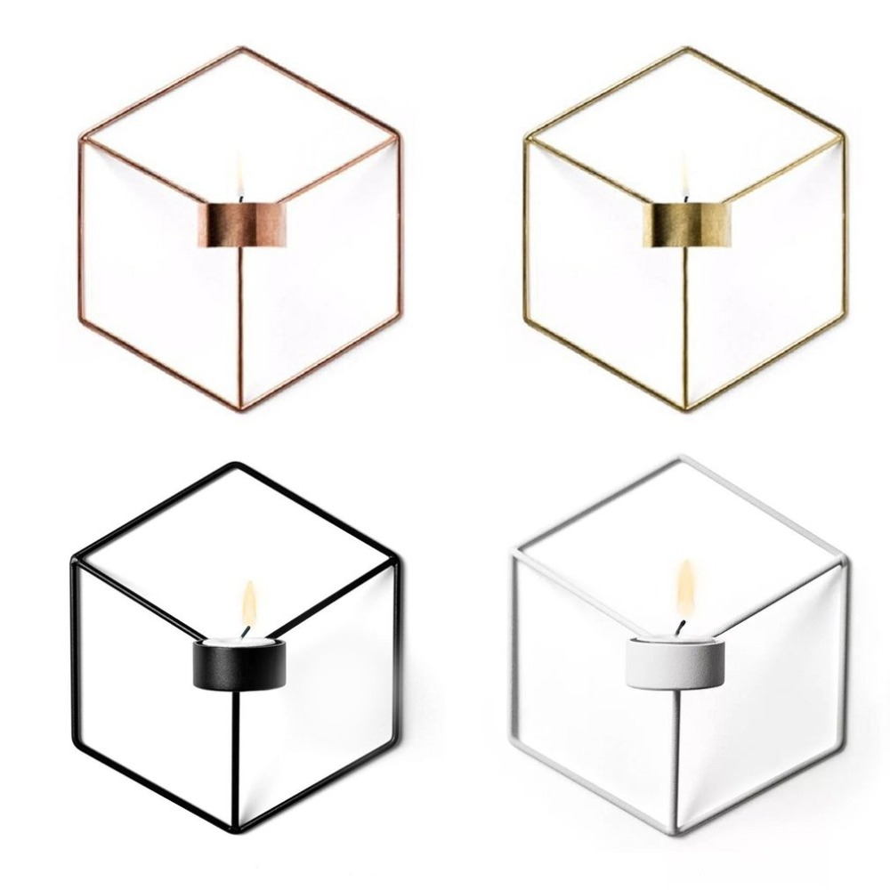 3D Geometric Candlestick Metal Wall Candle Holder Nordic ... on Decorative Wall Sconces Candle Holders Centerpieces Ebay id=20638