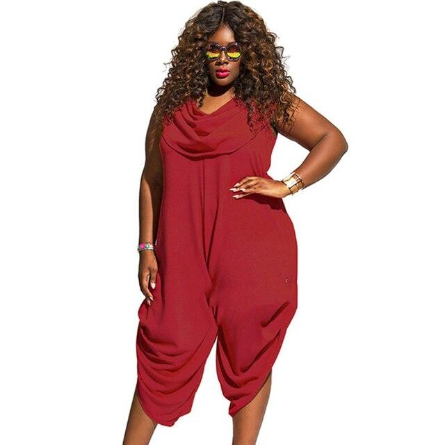 af9cf2d4e79 summer Sexy Black Red women s jumpsuit Harem pants plus size 3xl 4xl 5xl rompers  overalls party