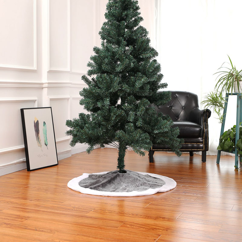 Gray Short Fluff Embroidered XMAS Merry Christmas Tree Skirts 90cm Ornament Santa Deer Felt Chrismas Decorations 2018 for Home