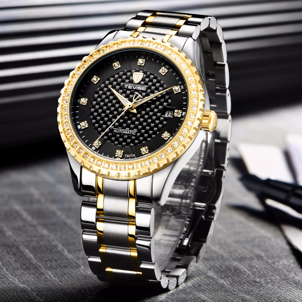 TEVISE Fashion Automatic Self-Wind Watches Stainless Steel Luxury Gold Black Auto Date Watch Men Mechanical T807A with tool original binger mans automatic mechanical wrist watch date display watch self wind steel with gold wheel watches new luxury
