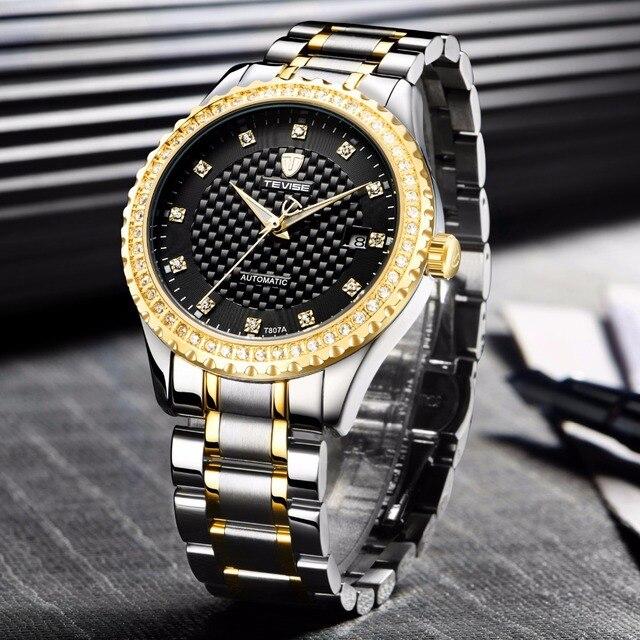 138bf520e6de TEVISE de moda automática viento relojes de acero inoxidable de lujo de oro  negro de fecha
