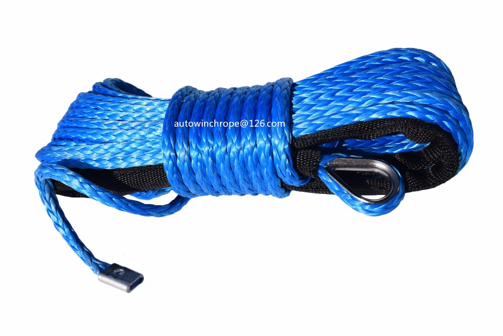 Free Shipping Blue 6mm*15m Synthetic Winch Rope,Recovery Replacement Winch Rope,Plasma Winch Cable