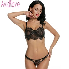 Avidlove Brand Lace Bra & Brief Sets Women Sexy Lingerie Lace Underwear Female Wired Lace Tops and Panties Bralette Bra Set XXL