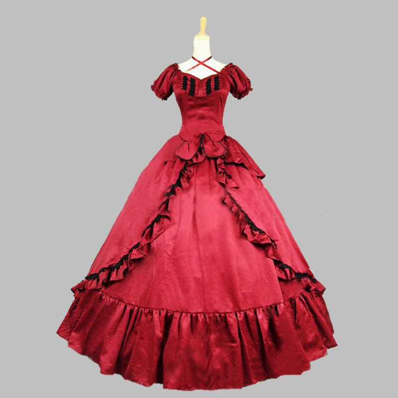 Aliexpress.com : Buy 2018 New Noble Red Long Sleeves Ruffles Vintage ...
