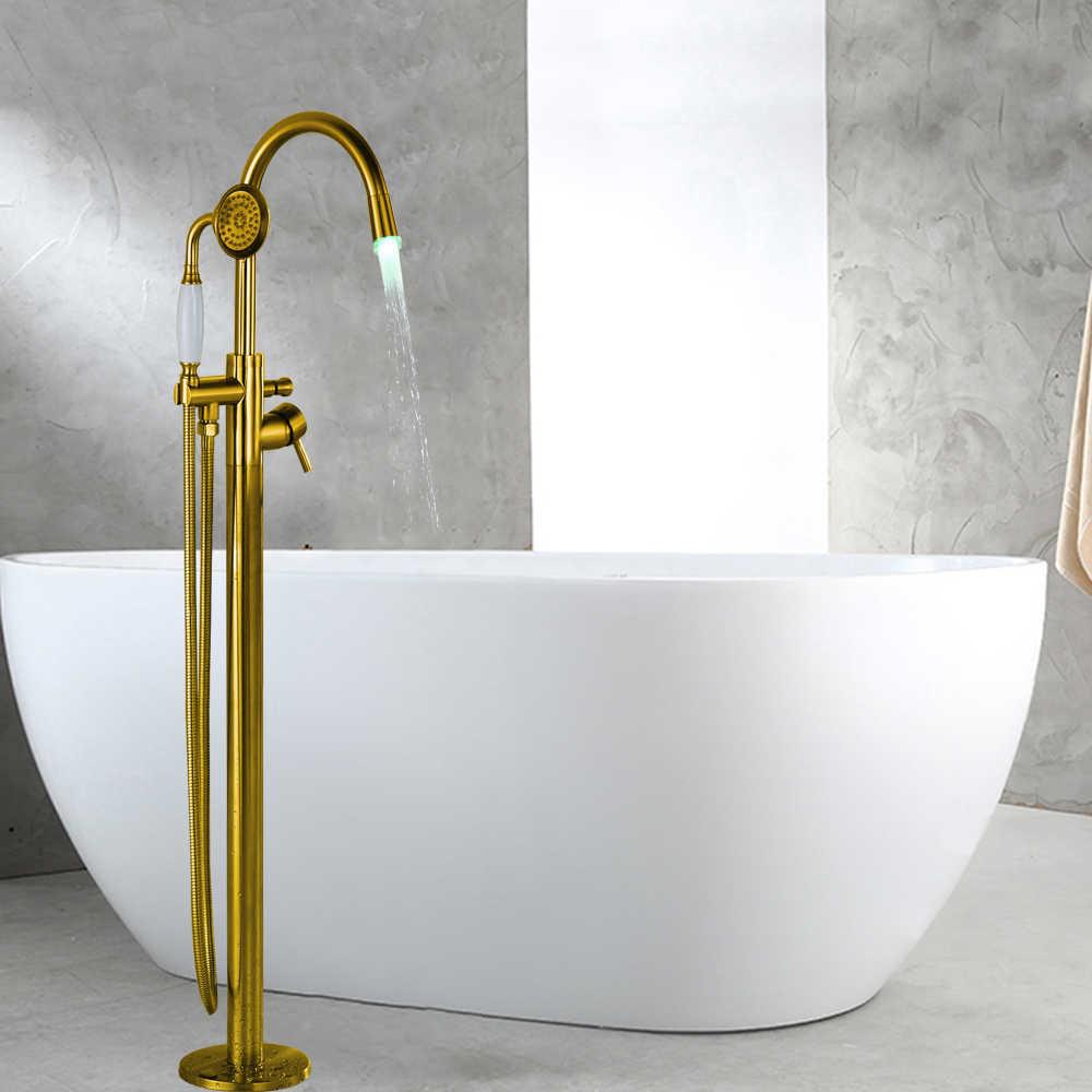 الذهبي إنهاء الطابق الخيالة وحيد مقبض صنبور حوض استحمام الطابق الوقوف صنبور خلاط دش يدوي الحنفيات