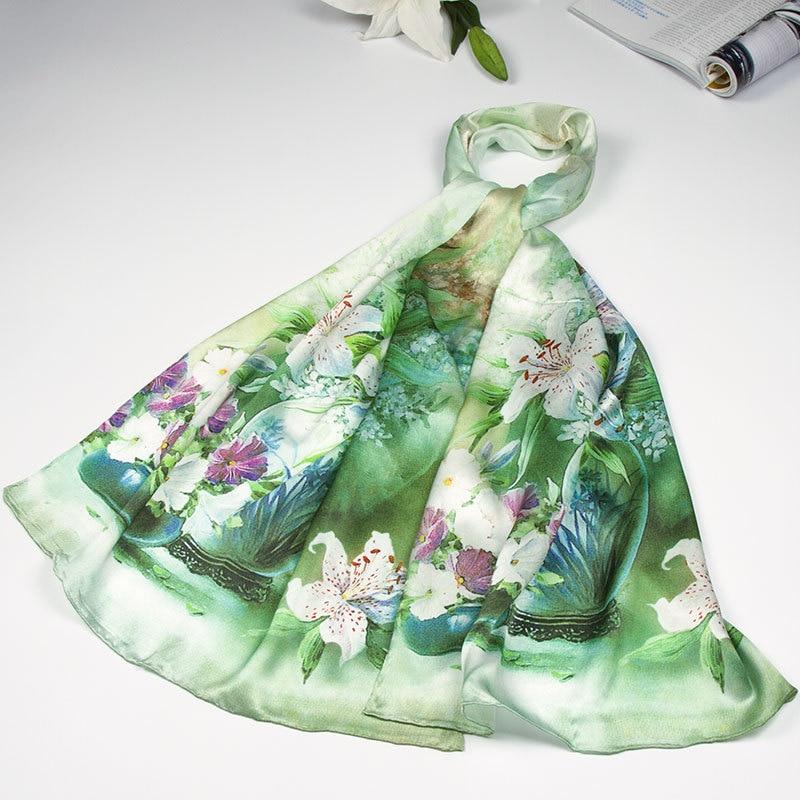 Шелковый шарф женский шарф Лилия Шелковый платок цветочный дизайнерский шарф Шелковый пашмины длинный плотный шелковый шарф роскошный подарок для леди