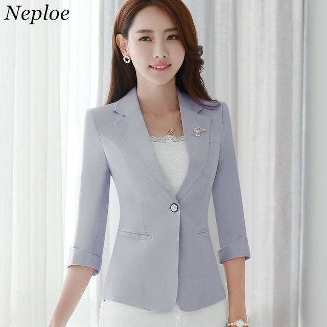 038ba4921fe35 Neploe Plus Size Blazers 2018 Autumn Single Button Coat Women Work Wear  Suit Jacket Half Sleeve Turn-down Collar Outwear 33694