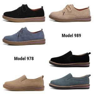 Image 4 - STQ 2020 אביב נשים דירות נעלי נשים סניקרס עור זמש תחרה עד נעלי סירת בוהן עגול דירות מוקסינים אוקספורד עבור נשים 989