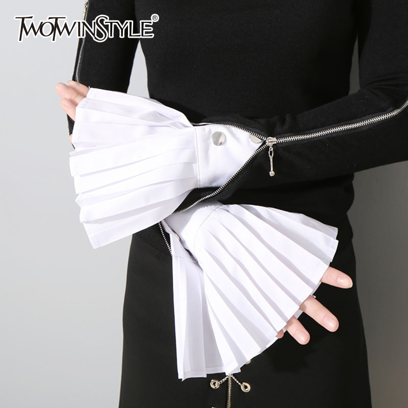 TWOTWINSTYLE Pleated Gloves For Women Accessories Solid Color Raglan Sleeves Female 2020 Spring Fashion Elegant