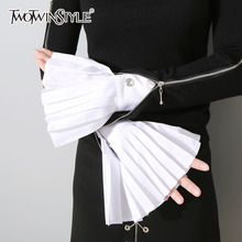 TWOTWINSTYLE Pleated Gloves For Women Accessories Solid Color Raglan Sleeves Female 2018 Spring Fashion Elegant