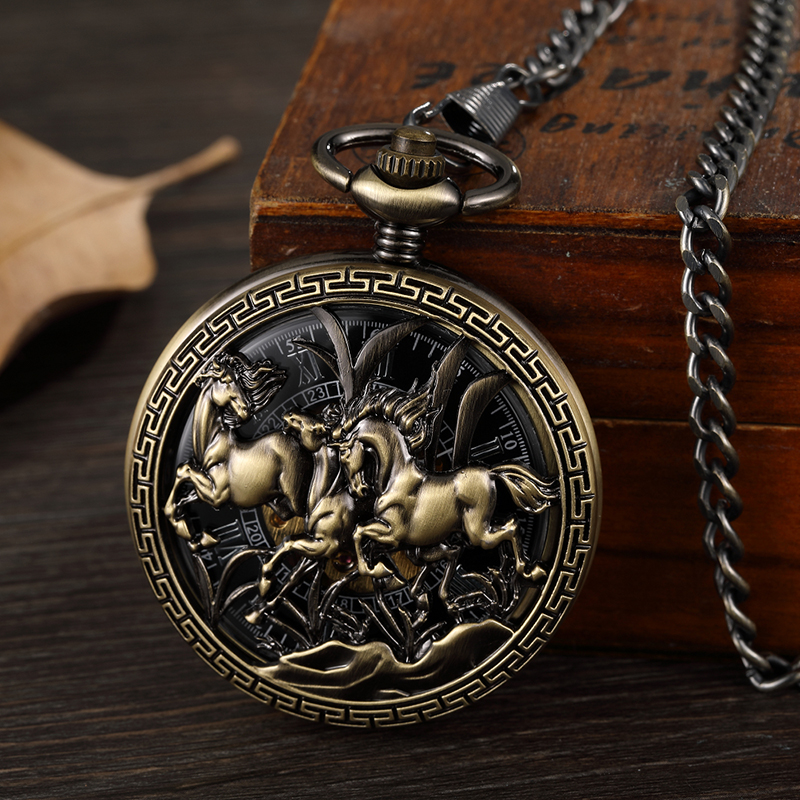 3 Running Horses Mechanical Pocket Watch Hand Winding Clock Retro Skeleton Roman Numerals Fob Chain Steampunk Watches with Box retro luxury wood circle skeleton pocket watch men women unisex mechanical hand winding roman numerals necklace gift p2012c