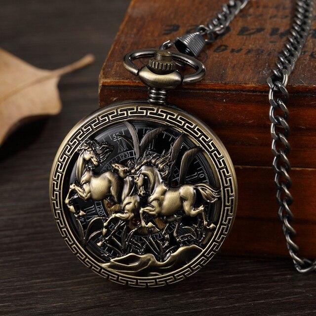 3 Running Horses Mechanical Pocket Watch Hand Winding Clock Retro Skeleton Roman