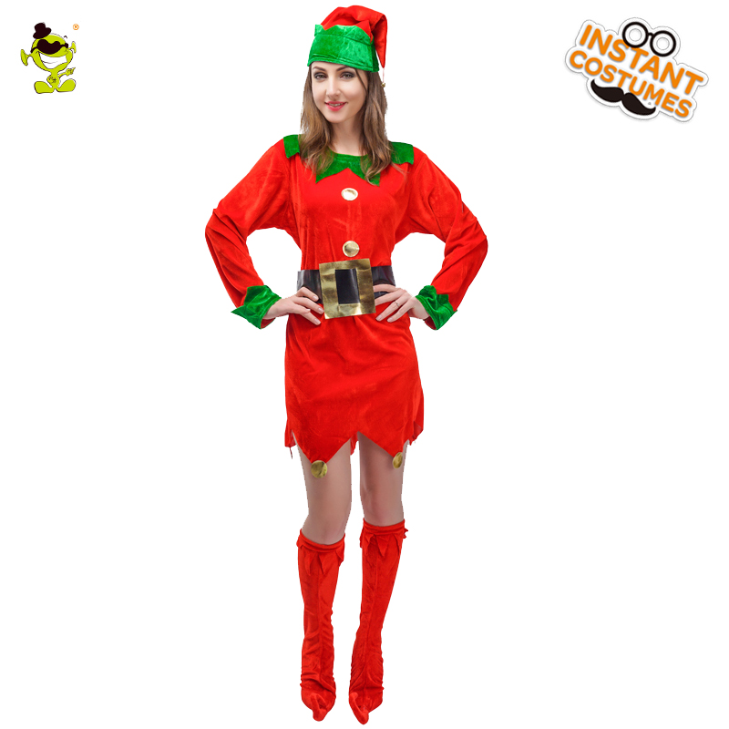 Adult Elf Costume for Christmas Carnival Role Play Outfits for Women Cosplay Gorgeous Sexy Fancy Short Dress Red Elf Costumes