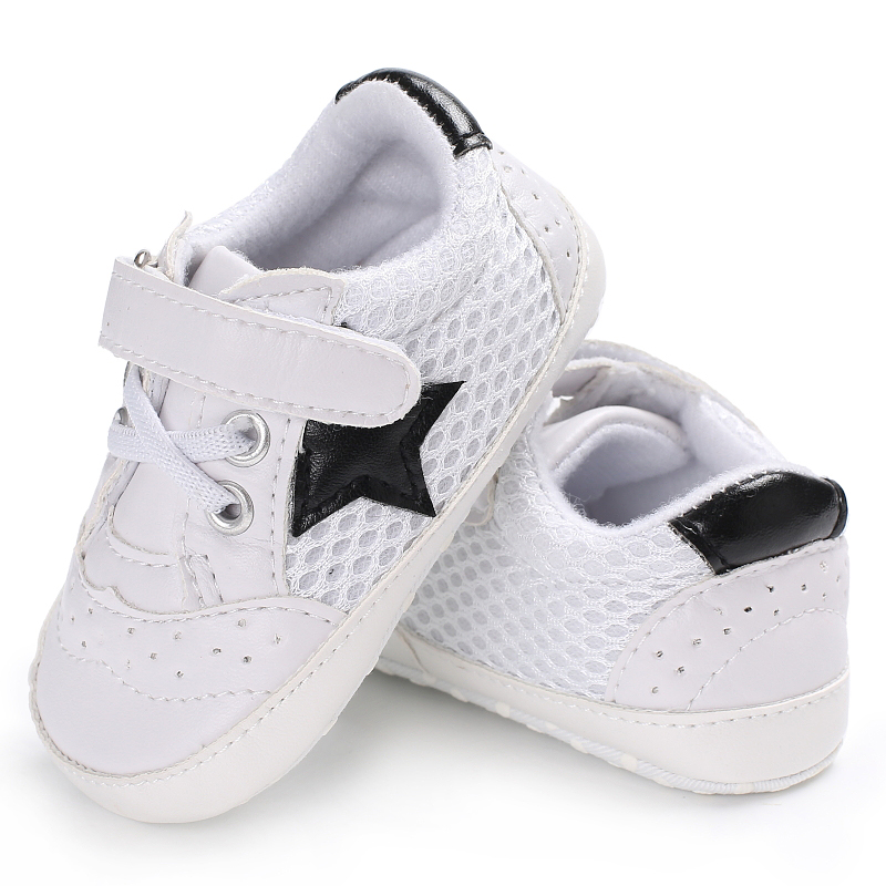 Air Mesh Breathable Sports Newborn Baby Sneakers Infants Star Running Hoop & Loop Mocassins Baby Todders 11-13cm Length