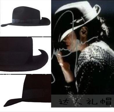 Michael Jackson cap chapéu Fedora chapéu de feltro de lã versão Perfeita do chapéu de feltro preto de dança espaço 1:1