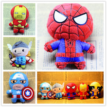 5 Style Marvel The Avenger Plush Keychain Doll Iron Man / Spiderman / Captain America /Hulk/ Raytheon Plush Toy Ring Key Chain