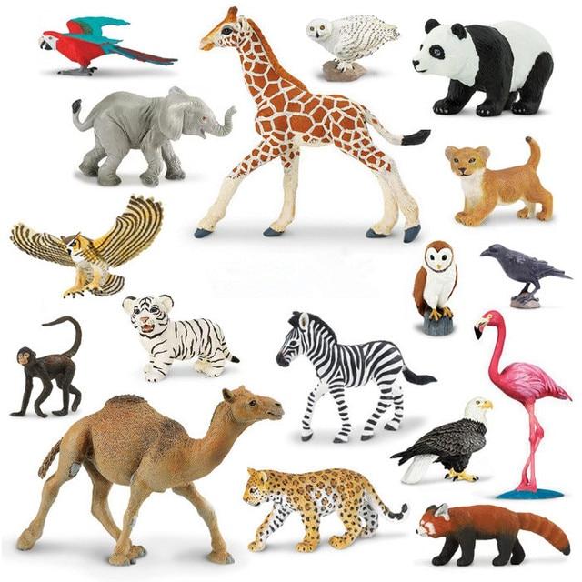 Genuino Original fauna animales Len leopardo loro bho Cuervo mono