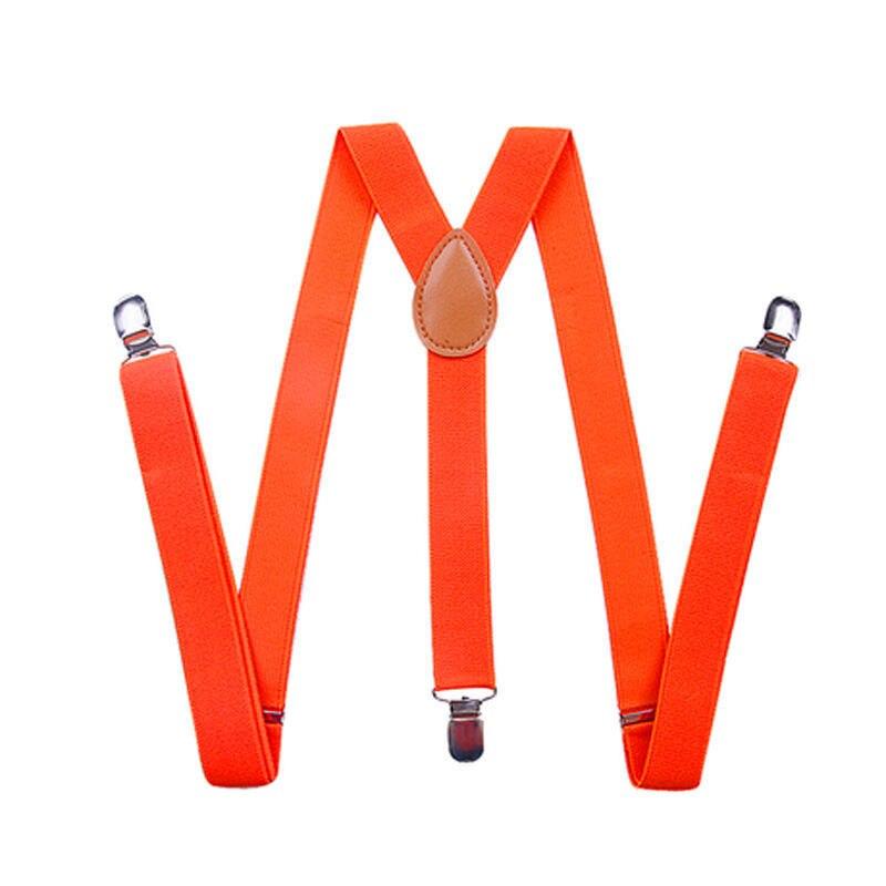 Новинка, 15 цветов, унисекс, для мужчин и женщин, на клипсах, подтяжки, эластичные, y-образные, регулируемые подвязки, подтяжки, пояс, ткань, аксессуары - Цвет: Orange