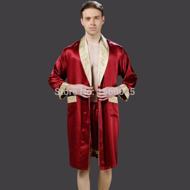 0baf5388cc 2017 Male Silk Robe 100% Mulberry Silk Sleepwear Autumn Shorts Robe Sets  Brand Embroidery Bathrobes