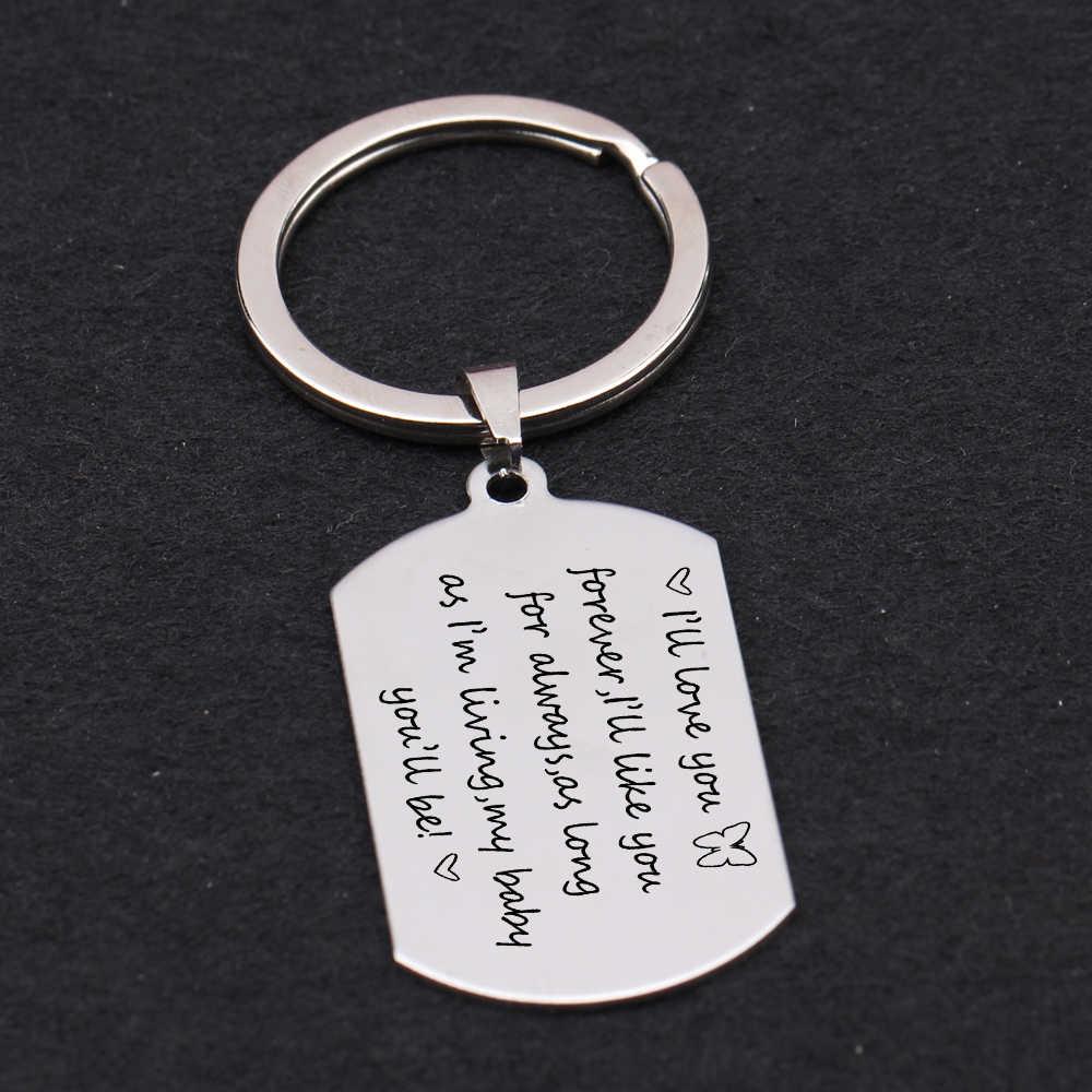 Thời trang Móc Khóa Chó Thẻ Móc Khóa Quà Tặng cho họ khắc chữ Love Chó Bướm Móc Khóa Chó người yêu bạc vàng thẻ Charm Xe ô tô