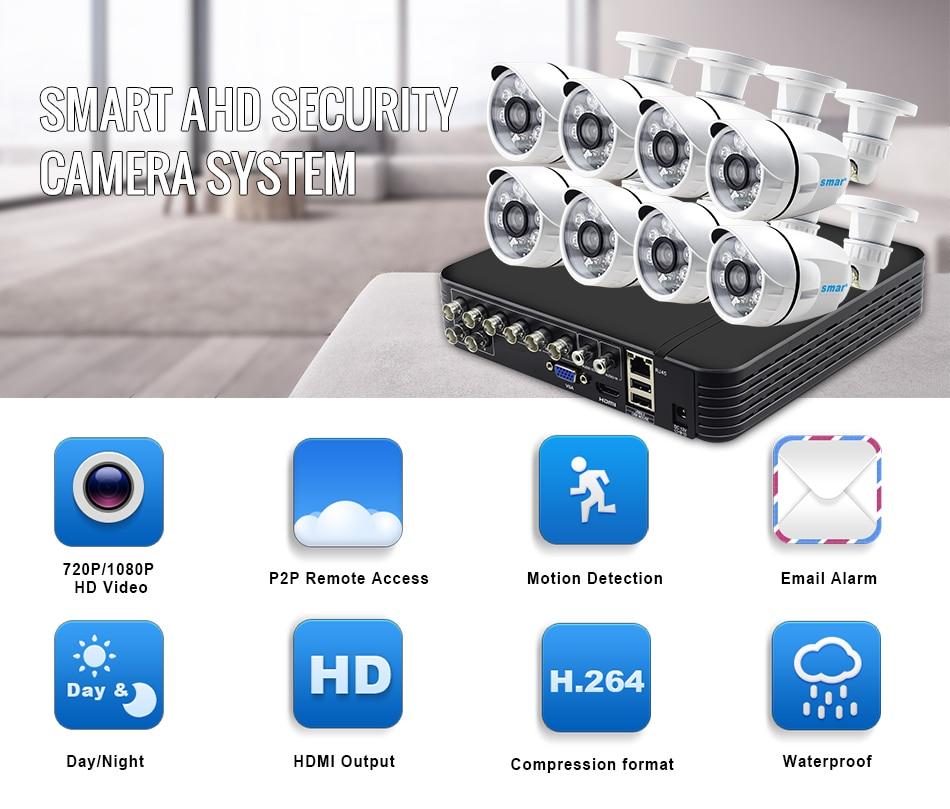Smar 8CH 1080N AHD DVR Kit 8PCS HD 1.0MP2.0MP Real Time Outdoor Security Cameras Video DVR Kits CCTV Surveillance System (1)