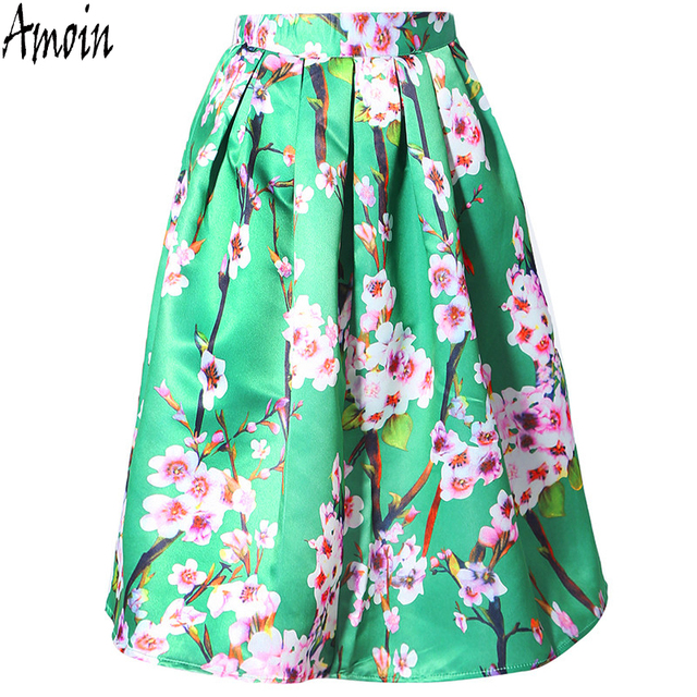 Amoin mujeres wineter otoño falda nuevo 2017 de cintura alta vintage peach blossom floral print vestido de bola plisado midi skater falda