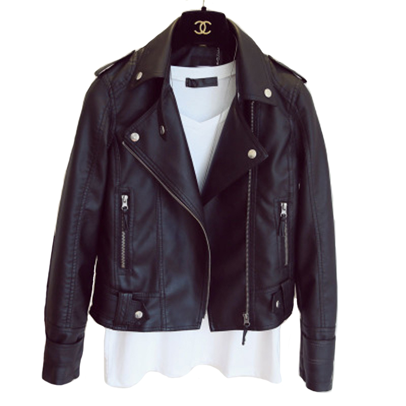 Women Autumn Outwear   Leather   Jacket Faux PU Turn-down Collar Classical   Leather   Coat Black Moto Biker Jackets Female