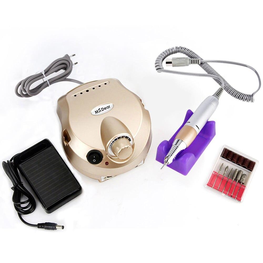 35000 RPM máquina profesional aparato para manicura pedicura Kit de archivo eléctrico con del taladro del clavo del cortador arte Máquinas para pulir herramienta